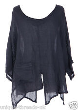 CUT SLASH LAGENLOOK QUIRKY LINEN POCKET TOP LAYERING BOHO ONE SIZE 12-22 - NAVY