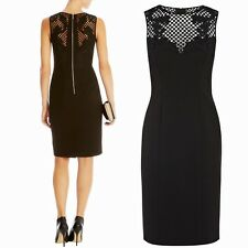 KAREN MILLEN BLACK WITH CROCHET & EMBROIDERED OVERLAY UPPER BODY SIZE 10 NEW
