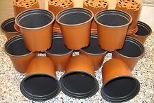 250 X ROUND 10.5cm 4 INCH 9CM DEEP FULLSIZE TERRACOTTA  PLASTIC PLANT POTS