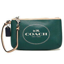 NEW Authentic COACH Horse & Carriage Leather Med Wristlet Purse F51788 Green