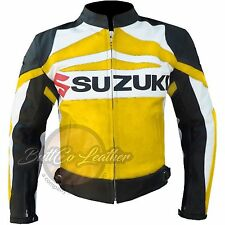 SUZUKI GSX Motorbike Biker Racing Yellow Genuine Leather Jacket for motorcyclist