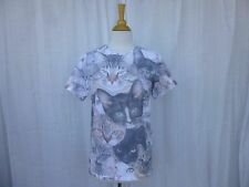 Photography Cats All-Over Front Print Cotton Blend White T-Shirt Cat Lady Boho