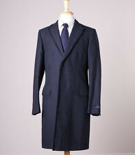 NWT $2275 LANVIN Midnight Navy Blue Heavy Cotton-Linen Overcoat Slim 50/40 R