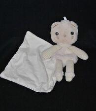 Peluche doudou ours beige rayé BERLINGOT mouchoir blanc 21 cm TTBE