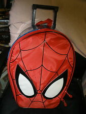 Disney Store Spider-Man Rolling Luggage Suitcase  Red Blue Carry-On Bag MINT