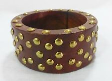 Bcbg maxazria bracelet wood bangle gold tone studs brown NEW