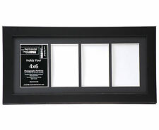 4 Opening Glass Face 8x18 Black Picture Frame Holds 4x6 Media Black Collage Mat