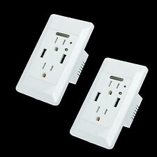2PK 4A Dual USB Wall Socket Charger Power Receptacle Outlet Panel w/ Nightlight