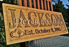 Personalized Family Last Name Sign Custom Carved Wood Plaque Couple Wedding Gift