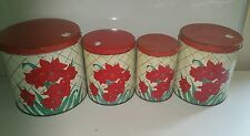 Set of 4 Tin Colorware Vintage Canisters Red Green Flowers  1940s