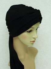 Black turban, volume turban snood, chemo head wear, black turban with long ties