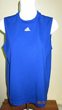 Youth Kids S Adidas ClimaLite Blue Sleeveless Casual Athletic Basketball Shirt