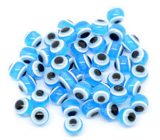 25 x Blue Evil Eye Stripe Round Resin Spacer Beads 10mm - L10122