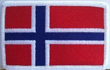 NORWAY Flag Patch With VELCRO® Brand Fastener WHITE Emblem #92