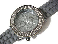 Iced Out Bling Bling Big Case Rubber Band Techno King Men's Watch Gray Item 1856