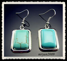 FREE TOP 18KGP Tibetan Silver wrapped Charm Rectangle Turquoise Hook Earring