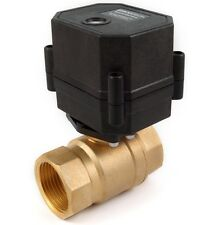 "1"" NPT Motorized Ball Valve Brass body 110/115/120 to 240 volt AC 2-wire N/C"