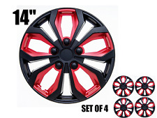 """14"""" inch Hubcaps CAR+ """"SPA"""" ABS RED AND BLACK Easy to install Set of 4 pieces"""