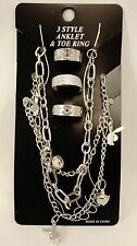 New Silver 6 Piece Anklet and Toe Ring Set #JJ4727