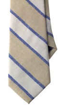"NEW Men's Necktie Cotton-Linen Chambray Striped Khaki Tan Blue Tie 3-1/8"" W"