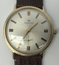 Mens Vintage HAMILTON 14k Solid Gold Manual Wind Watch w/ Reptile Band 03366