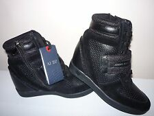 ARMANI JEANS WOMAN SNEAKER SHOES WITH WEDGE BLACK Size 5 UK/38 EUR