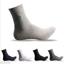 5 Pairs Lot Mens HJC polo Style Solid Crew Quarter Dress Combed Cotton Socks