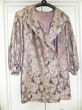 SILK 3/4 evening theatre COAT size 12/14 pink grey brocade wrap over lined