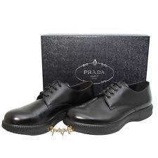 PRADA SPAZZOLATO ROIS BLACK LEATHER LACED DERBY SHOES NEW 10 US 43 EU