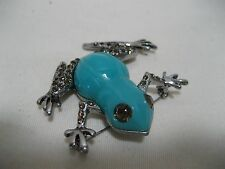 Teal w/Taupe Rhinestones on Silver Tone Frog Brooch