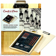 CONTE A PARIS ARTIST 25 PC SKETCHING BAMBOO WOODEN BOX SET PENCIL CRAYON