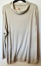 NWT $34 Womens 4X Beige LS Tunic Turtleneck Knit Top Shirt Bust 62 Length 34