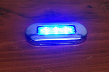 "# RV MARINE BOAT TRAILER LED BLUE OBLONG SHAPE COURTESY LIGHT 3""BY1.25"" S.S, RIM"