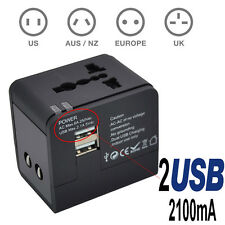 Universal Travel AC Adapter Power Plug Outlet with Dual USB Charger UK US AU EU