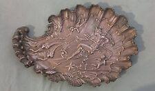 Ancien plateau en cuivre moulé ciselé Vénus sur son char Art Nouveau fin XIX ème