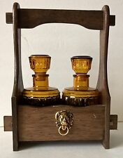 Vintage Liquor Decanter Set w/ Wood Caddy Amber Glass – Japan - Empty