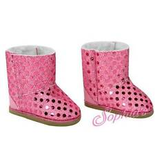 EWE BOOTS SHOES fits American Girl Dolls NEW PINK sparkle sequin sequins bling