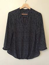M&Co Blouse Shirt Size 10 Black White Polka Dot Design Gathered Front Ladies