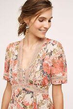 NWT SZ 8 $188 ANTHROPOLOGIE ROSE BOUQUET DRESS BY RANNA GILL FIT AND FLARE PINK