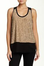 NWT EILEEN FISHER ROSEWATER SEQUINED SILK U-NECK RACERBACK LINED TANK SZ M