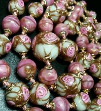 VINTAGE ANTIQUE VENETIAN WEDDING CAKE ART GLASS GRADUATING BEAD NECKLACE
