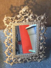 Vintage Ornate Guilded Cast Iron Picture Mirror Frame with Easel Stand 16 x 12