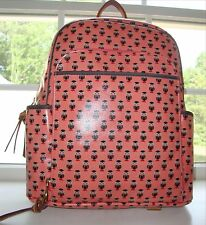 NWT FOSSIL KEYPER PINK CORAL OWL COATED CANVAS BACKPACK TRAVEL BAG - $158 RETAIL