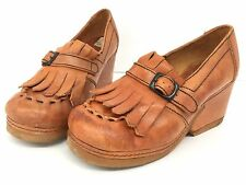 RARE Vintage 70s Hippie Boho Shoe Wood Platform Fringe Leather Clog Slip On 7