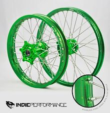 KAWASAKI FRONT & REAR WHEEL SET KX 125 250 250F 450F WHEELS GREEN HUB 450 21X19""