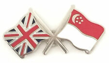 Great Britain & Singapore Flags Friendship Courtesy Enamel Lapel Pin Badge