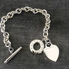 Tiffany & Co Sterling Silver Heart Toggle Donut Link Bracelet