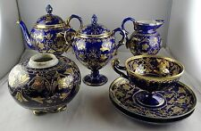 7 Pcs. Nippon Hand Painted Porcelain Partial Tea Set - Cobalt, Gold Moriage