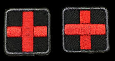 MEDIC CROSS EMT EMS RED CROSS EMBROIDERED 2 PC FIRST AID VELCRO PATCH