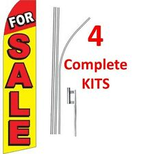 4 (four) FOR SALE 15' SWOOPER #1 FEATHER FLAGS KIT with poles+spikes